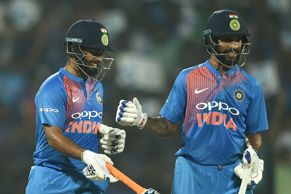 Rishabh Pant (left) flown in as cover for Shikhar Dhawan