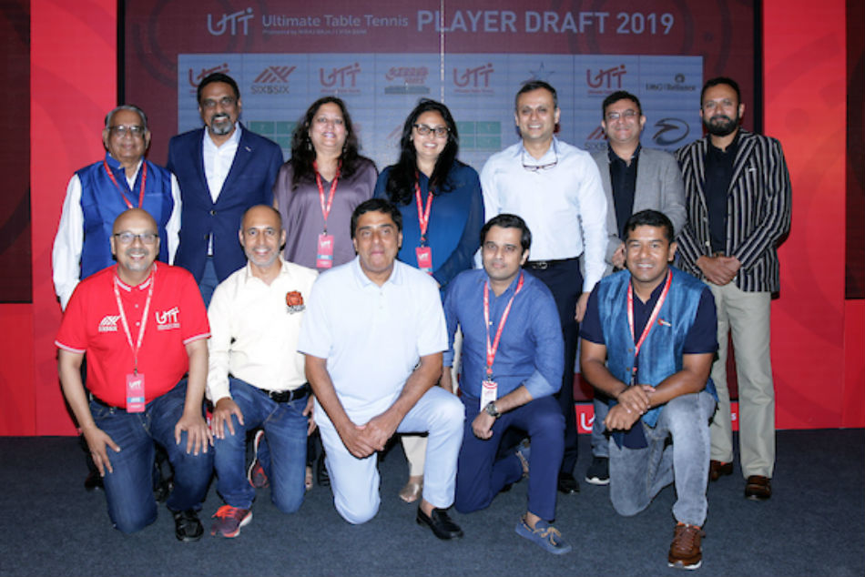 Ultimate Table Tennis owners and franchise owners and their representatives during the UTT 2019 Player Draft along with TTFI President Mr. Dhanraj Choudhary (second row - extreme left) in Mumbai on Thursday.