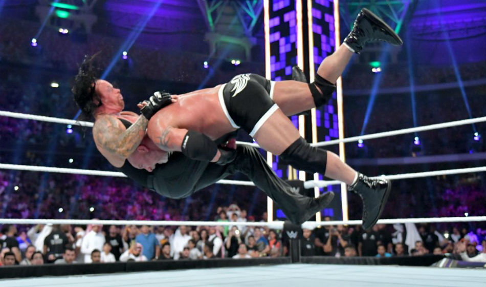 Goldberg spears Undertaker at WWE SSD (image courtesy WWE)