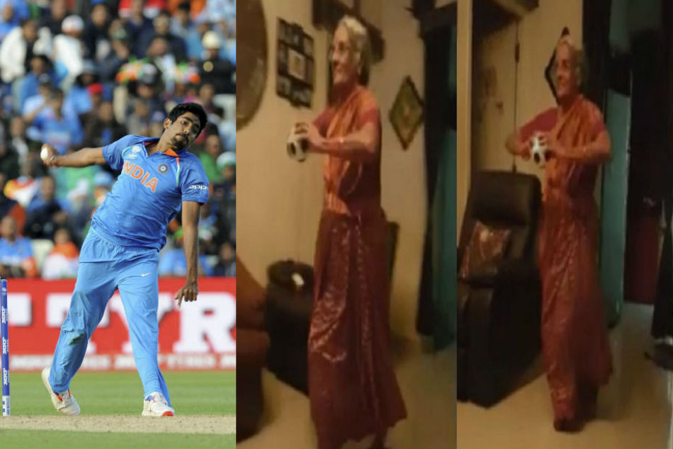 Jasprit Bumrah reacts as video of an elderly woman copying his bowling action goes viral on social media