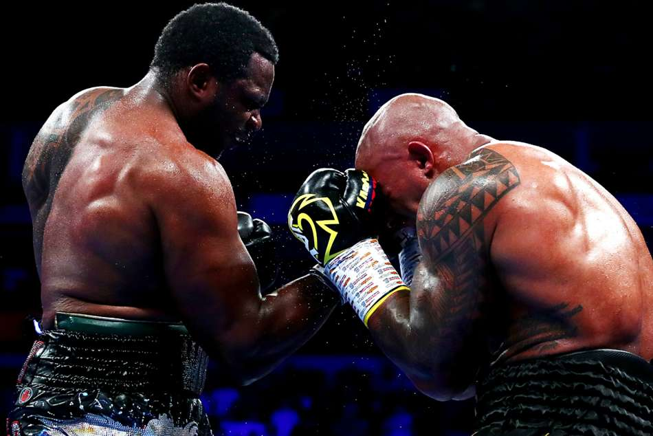 Dillian Whyte (left) handed Oscar Rivas his first loss