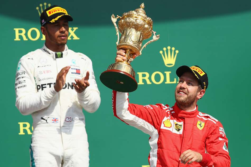 Lewis Hamilton will look to stop Sebastian Vettel from winning at the Silverstone