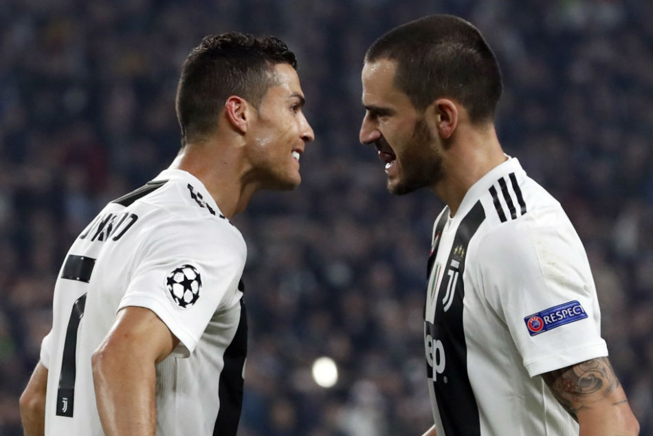 Juventus star Leonardo Bonucci (right) has emerged as a target for Manchester City