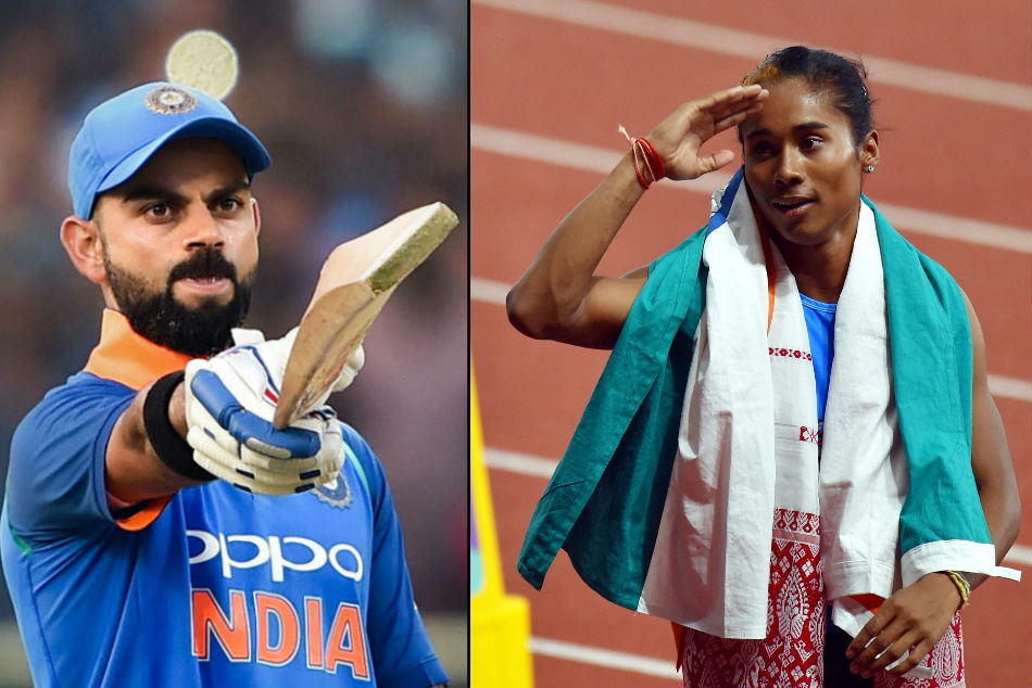 Virat Kohli leads Indian cricketers to congratulate 'golden girl' Hima Das
