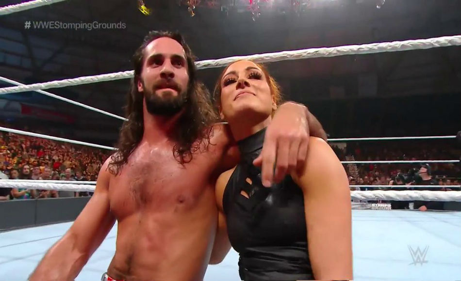 Seth Rollins & Becky Lynch at Stomping Grounds (image courtesy Twitter)