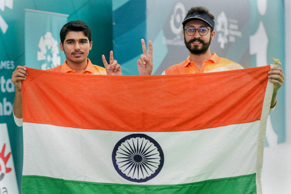 Abhishek Verma (right) won gold and Saurabh Chaudhary won bronze medal at the ISSF World Cup