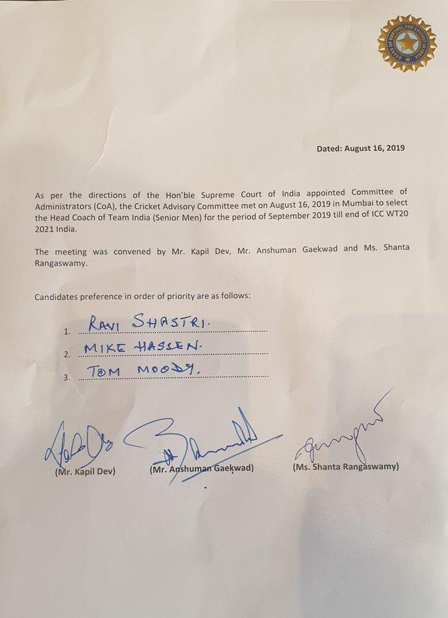 Unanimous Decision To Retain Ravi Shastri As Coach Did Nt Consult Kohli Kapil Dev
