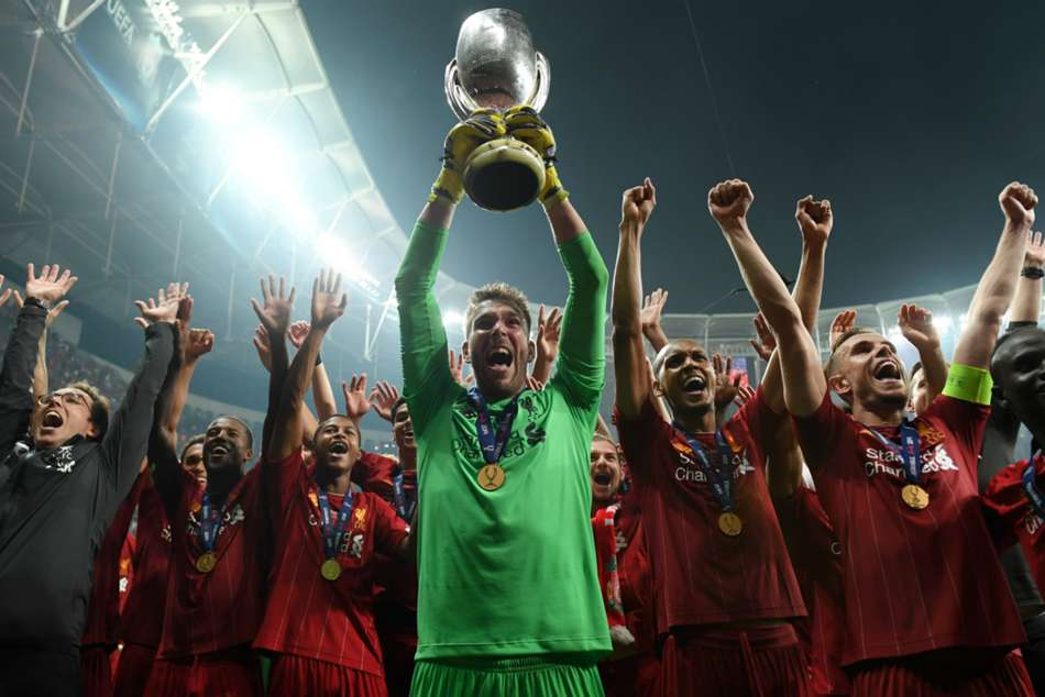 Liverpool celebrate their fourth UEFA Super Cup win