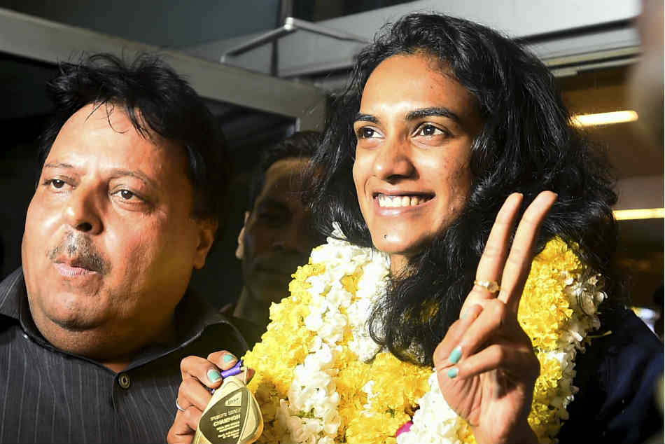 PV Sindhu returns home to grand welcome