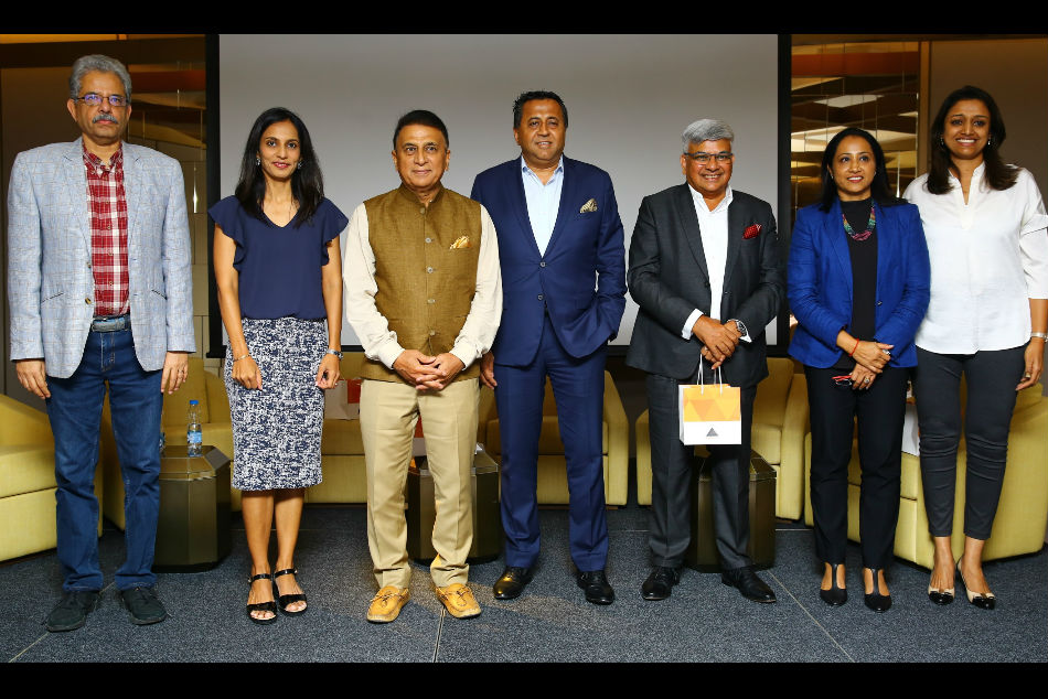 ( Left to Right ) Mr. Suresh Menon, Sports Writer; Ms. Aparna Popat , Olympian – Badminton; Mr. Sunil Gavaskar, Cricketing legend; Mr. Jitu Virwani, Chairman and Managing Director, Embassy Group; Mr. Kamal Bali, President and Managing Director, Volvo Group India; Ms. Ashwini Nachappa, Founder and Managing Trustee, Ashwini's Sports Foundation
