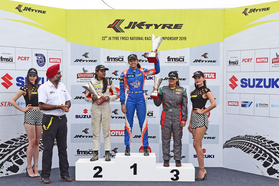 Mira Erda wins the Womens category of LGB Formula 4 in Round 2 of the JK Tyre-FMSCI National Racing Championship 2019 held at the Kari Motor Speedway, Coimbatore on Sunday
