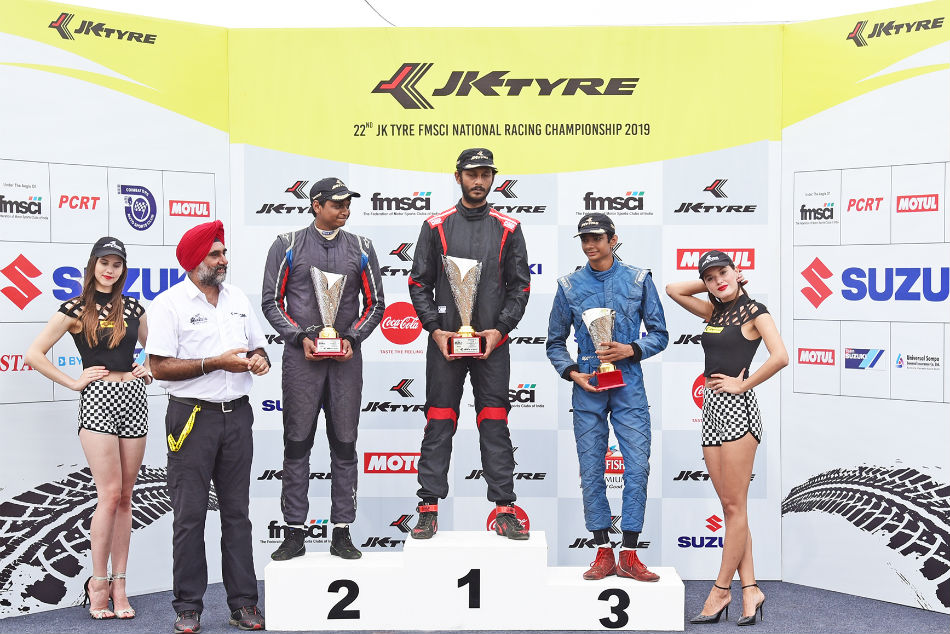 Raghul Rangasamy shot into the lead after collecting the most points in the LGB Formula 4 of the JK Tyre-FMSCI National Racing Championship 2019, Round 2, held at the Kari Motor Speedway, Coimbatore on Sunday.