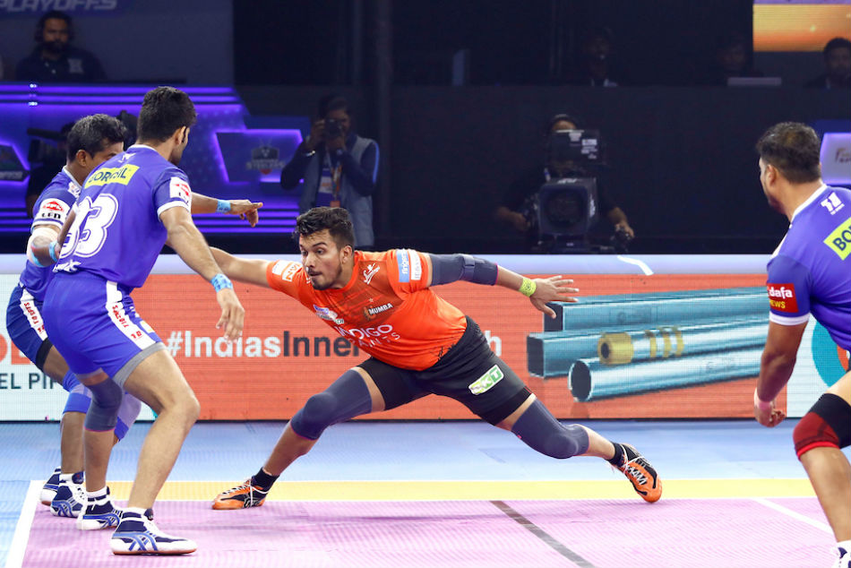 U Mumbas Arjun Deshwal raids against Haryana Steelers