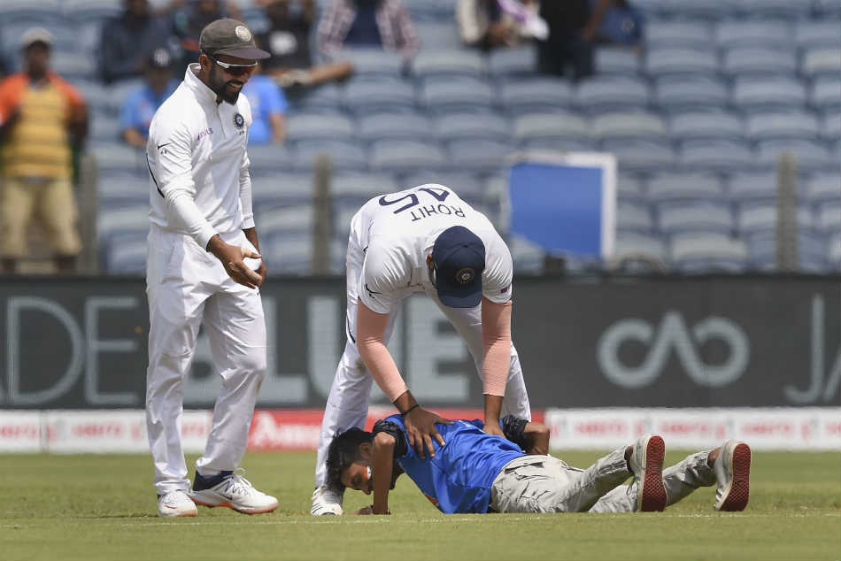 India vs South Africa: Watch: Rohit Sharma stunned as fan invades ground to touch his feet