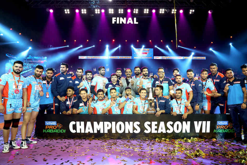 Bengal Warriors with their maiden PKL trophy