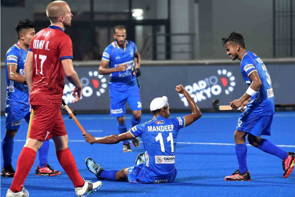 Olympic Qualifiers Manpreet Strikes A Brace India Men Edge Past Russia 4 2