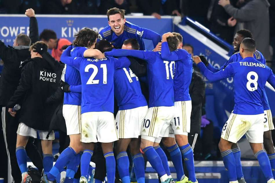 Leicester City celebrate after Kelechi Iheanachos winner