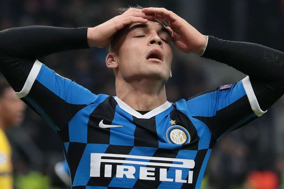 Lautaro Martinez reacts after Inter were knocked out of the Champions League