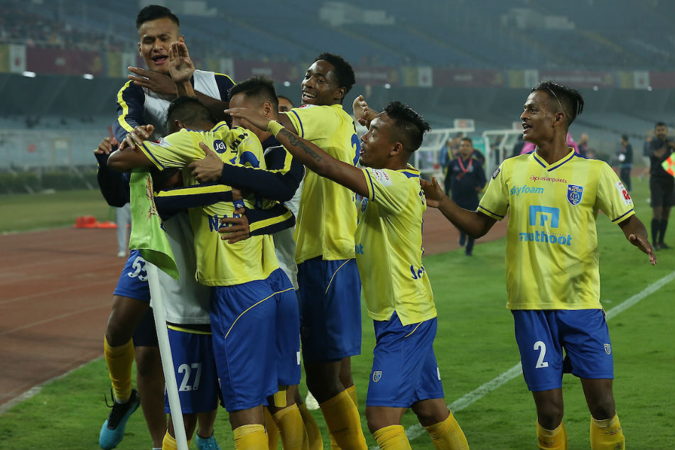 Kerala Blasters celebrate their win over ATK. Credit: ISL Media