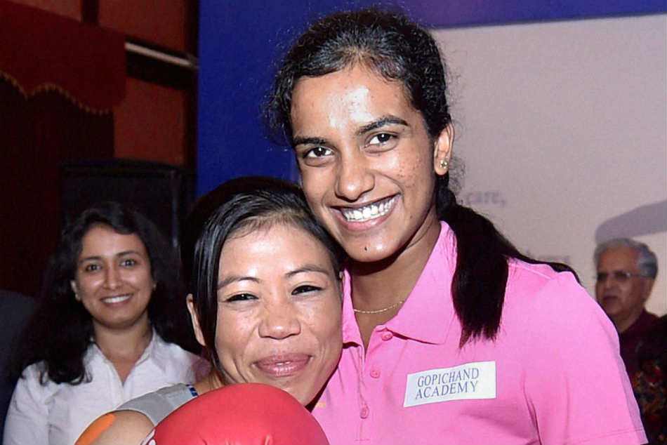 MC Mary Kom and PV Sindhu honoured