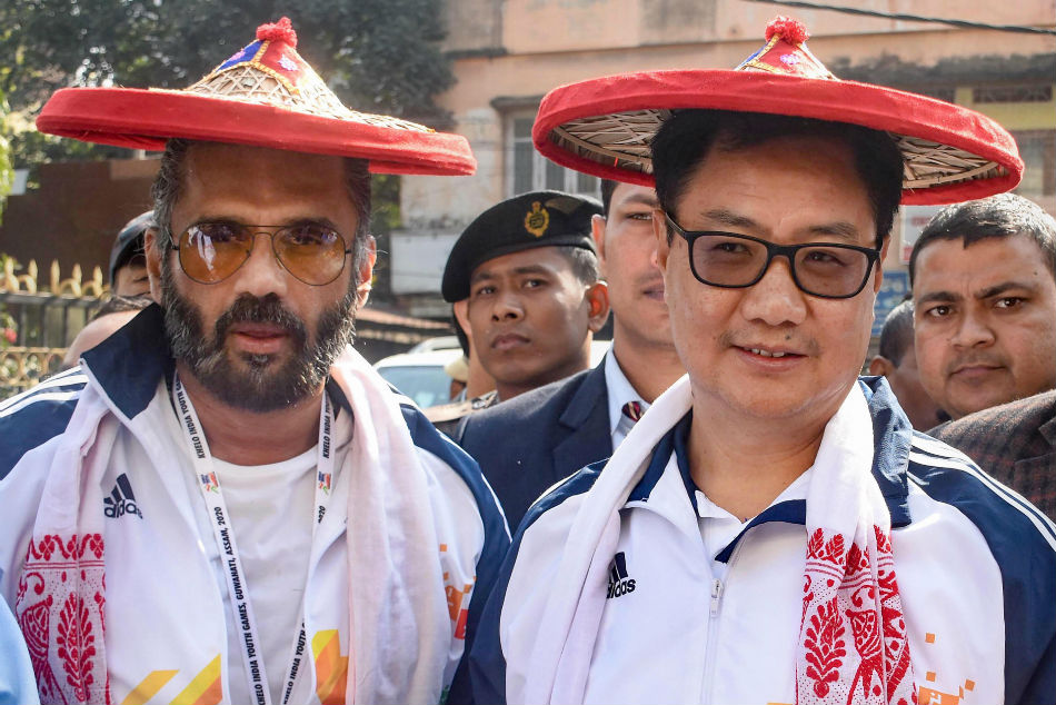 Union Minister of Youth Affairs and Sports Kiren Rijiju and Bollywood actor Sunil Shetty