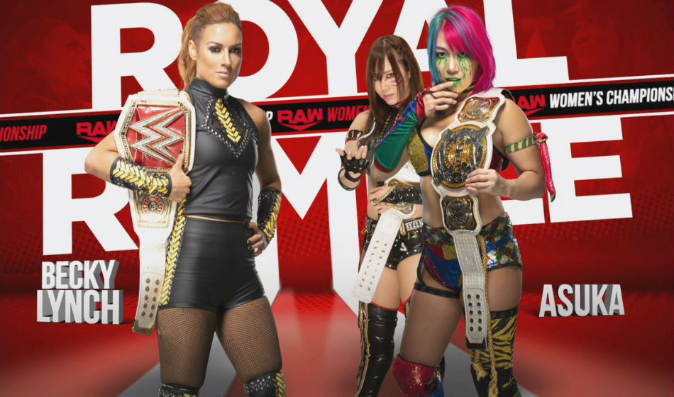 Raw womens title match poster at Royal Rumble 2020 (courtesy Twitter)