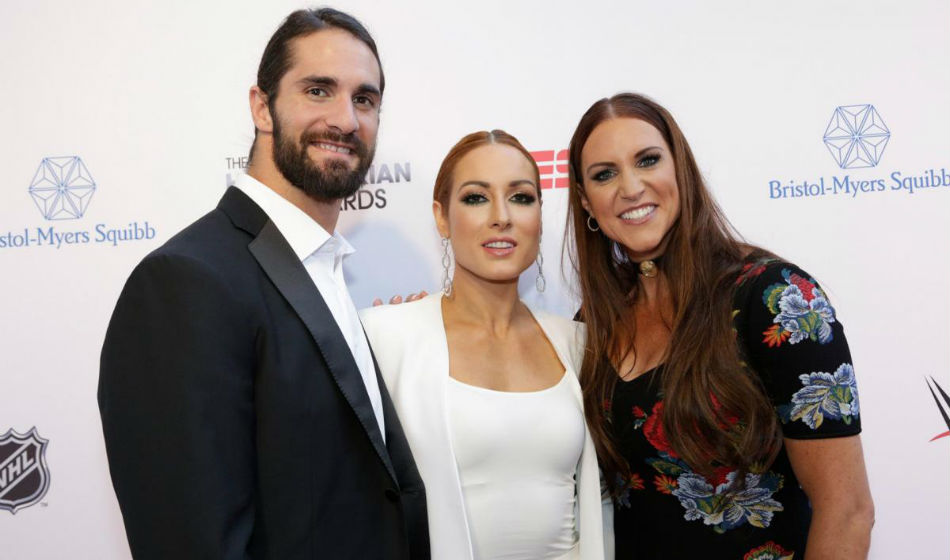 Seth & Becky doing media with Stephanie McMahon (image courtesy WWE.com)