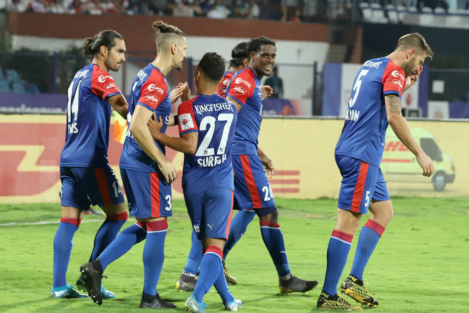 Bengaluru FC players celebrate their win over ATK. Credit: ISL Media