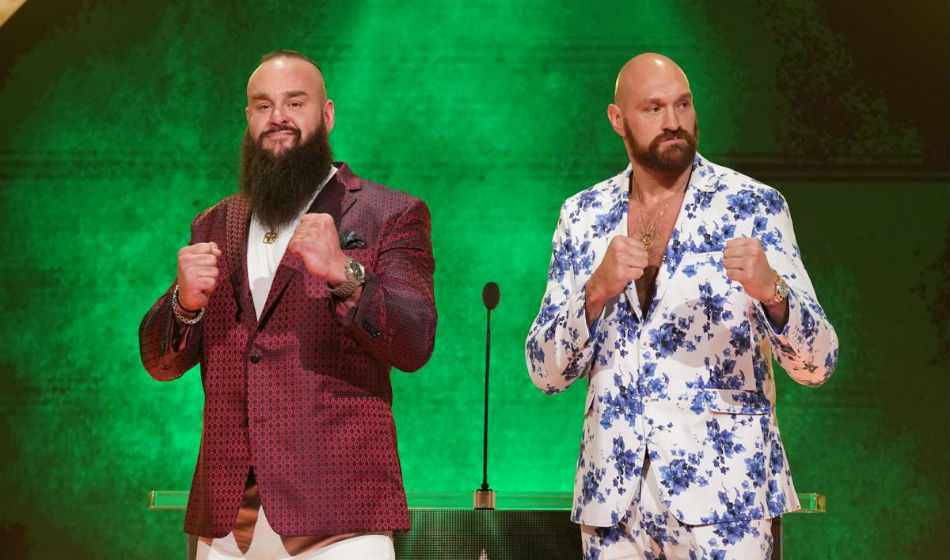 Tyson Fury (right) at WWE Crown Jewel press conference (image courtesy WWE.com)