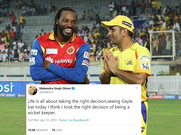 IPL: MS Dhoni's iconic tweet resurfaces on seventh anniversary of Chris Gayle's 175 not out for RCB