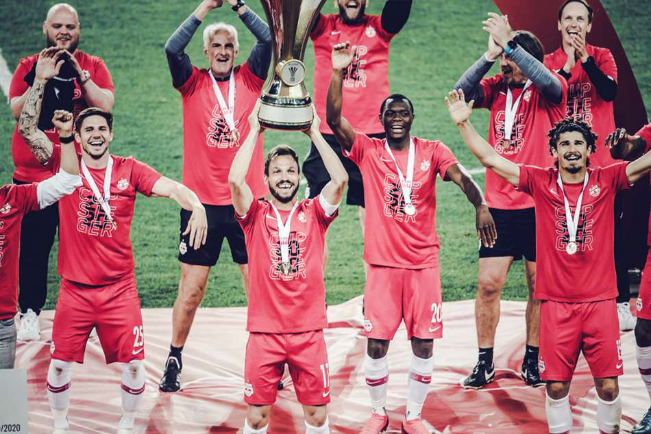 Coronavirus: Salzburg celebrate cup success in socially distant fashion as season restarts