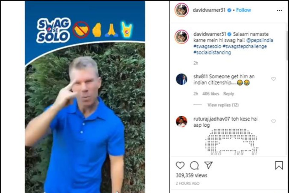 Salaam Namaste Haste-Haste Saare Bolo: David Warner shows fans how to practice social distancing