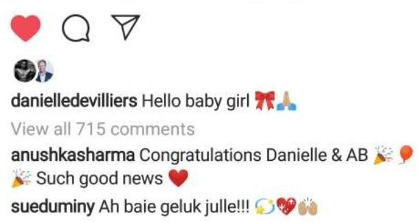 ABD, wife to welcome a baby girl