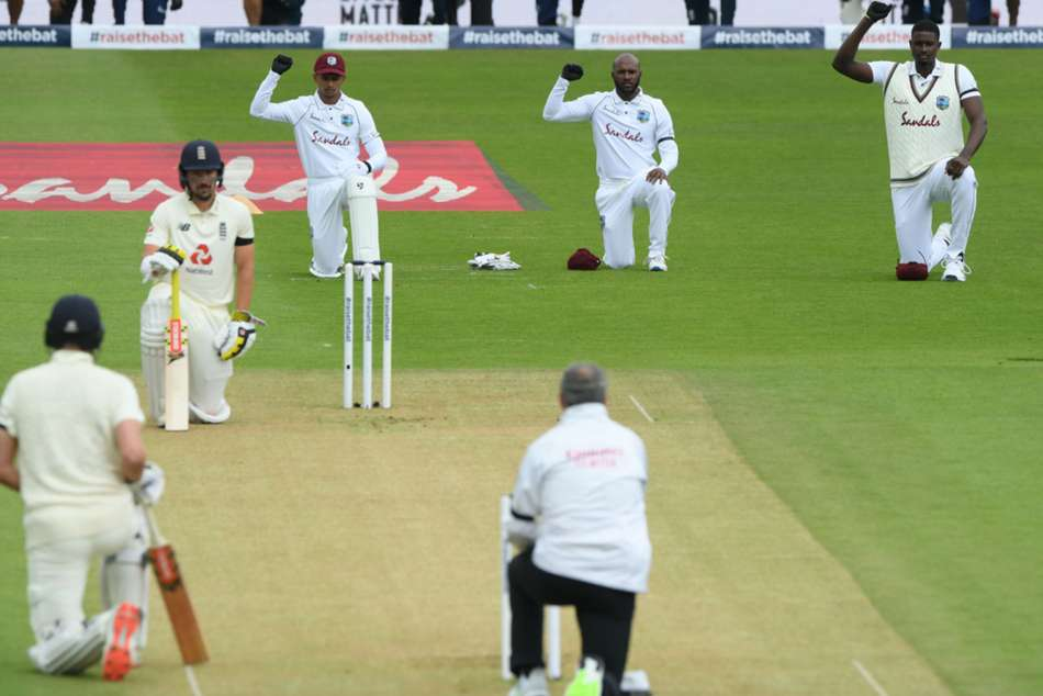 England and West Indies unite for Black Lives Matter on rain-affected first day