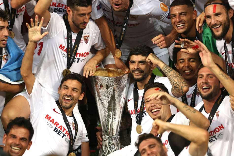 sevilla s banega happy to leave the club of my life with europa league trophy mykhel europa league trophy