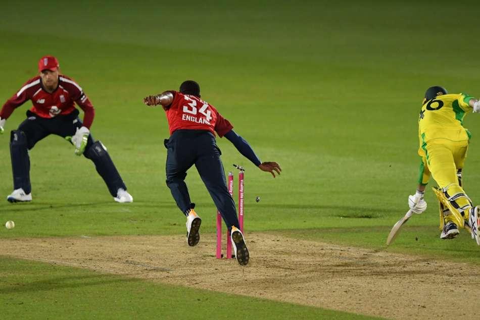 Australia collapse provides England tense opening T20 win