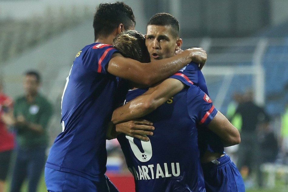 Bengaluru FC players celebrate after scoring the equaliser against Odisha FC. Credit: ISL Media