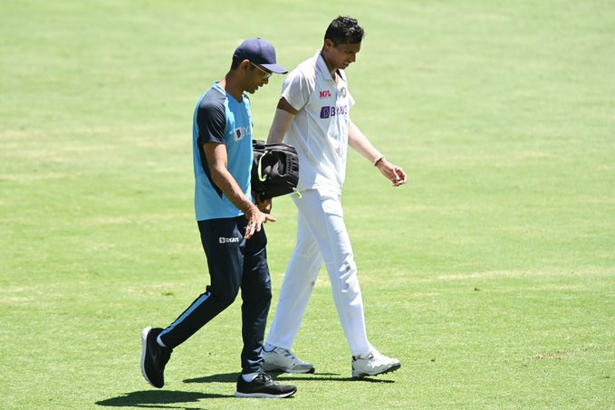 Saini bowled despite injury in the second innings at Brisbane