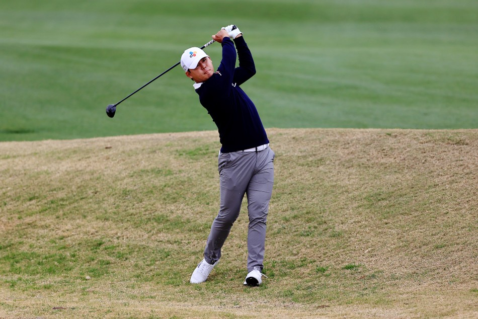Si Woo Kim in action during the third round at The American Express. (Image Credit: Getty Images)