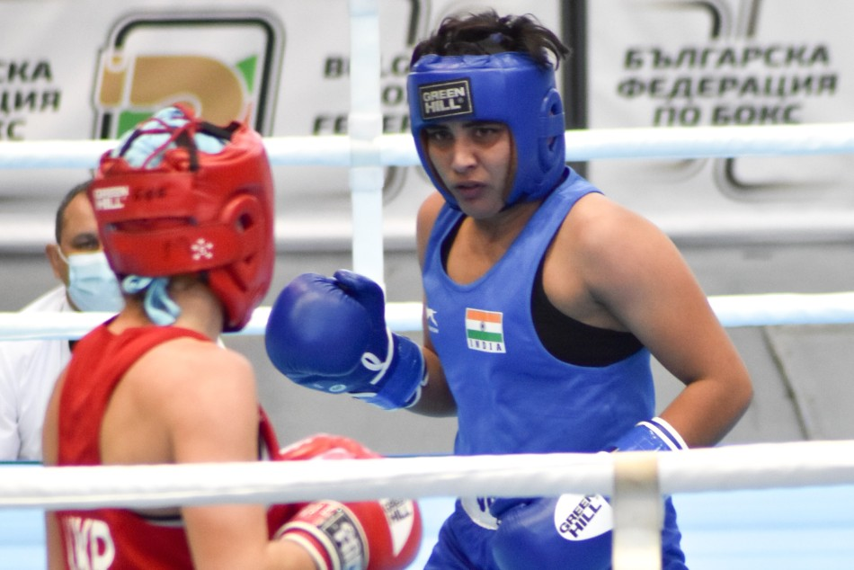 Indian boxer Jyoti Gulia (in blue) in action during her first match at the 72nd Strandja Memorial Tournament
