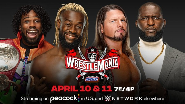 RAW Tag Team Titles Match: Omos and AJ Styles vs. The New Day (Kofi Kingston, Xavier Woods) (c)