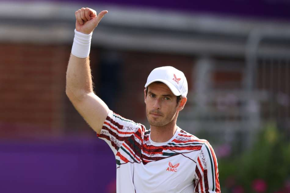 Andy Murray has to fight back the tears after winning return at Queen's
