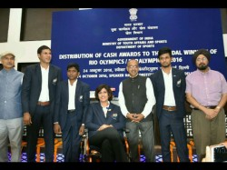 Sports Ministry Presents Cash Awards Indian Medal Winners At Rio Games