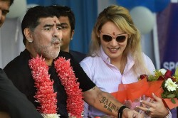 Twitter Goes Into Frenzy As Maradona Unveils Statue Himself