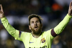 Messi Scores Hat Trick As Barcelona Rout Levante Extend Stay