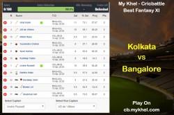 My Khel Fantasy Tips Kolkata Vs Bangalore On April