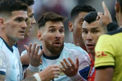 Argentina 2 Chile 1 Messi Sees Red In Tempestuous Third Place Play Off