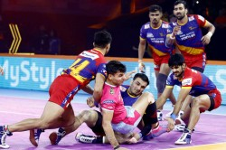 Pkl 2019 Five In A Row For U P Yoddha As They Beat Jaipur Pink Panthers 38