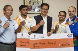 Sports Minister Kiren Rijiju Felicitates Boxers Amit Panghal Manish Kaushik With Cash Awards