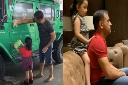 Ms Dhoni Gets Help From Daughter Ziva To Clean His Nissan Jonga Receives Shoulder Massage